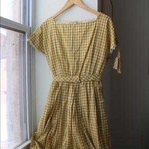 Vintage 1969s Yellow Lanz Original Gingham Dress